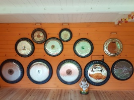 Gongs on wall