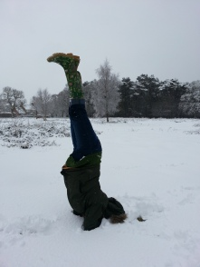 Headstand snow